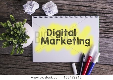 Digital marketing. / Notes about digital marketingconcept
