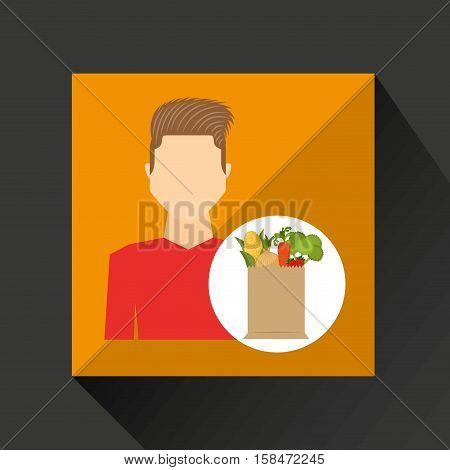 cartoon man red tshirt with shop bag healthy food vector illustration eps 10