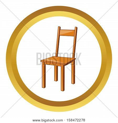 Wooden chair vector icon in golden circle, cartoon style isolated on white background