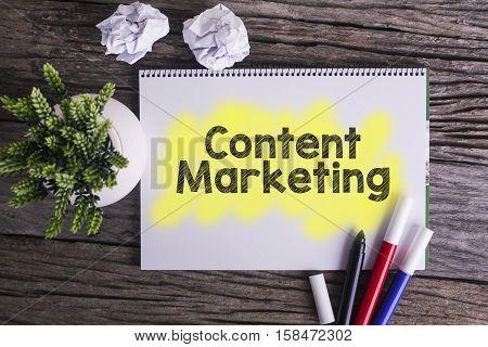 Content marketing. / Notes about content marketingconcept.
