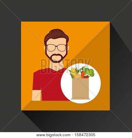 cartoon man hispter with shop bag healthy food vector illustration eps 10