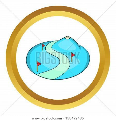 Ski slope of the snow mountain vector icon in golden circle, cartoon style isolated on white background