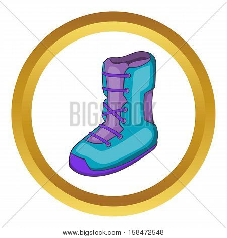 Boot for snowboarding vector icon in golden circle, cartoon style isolated on white background