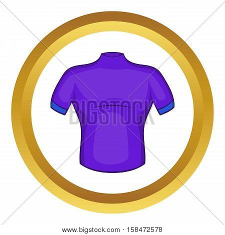 Cycling shirt vector icon in golden circle, cartoon style isolated on white background