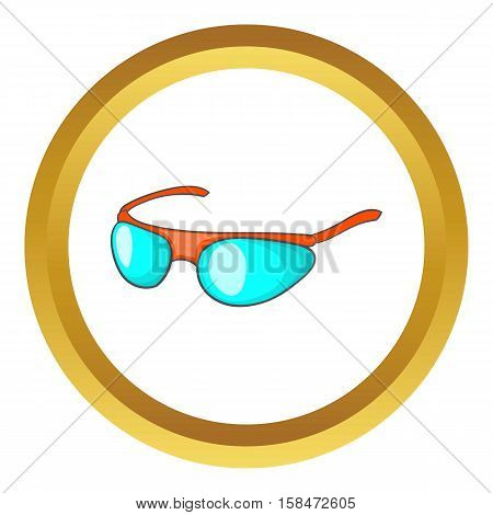 Bicycle sport glasses vector icon in golden circle, cartoon style isolated on white background
