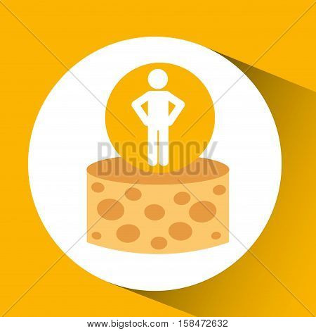 silhouette man cheese nutrition healthy vector illustration eps 10