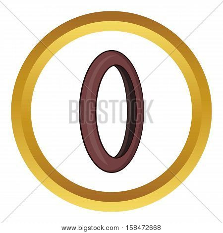Bicycle wheel tire vector icon in golden circle, cartoon style isolated on white background