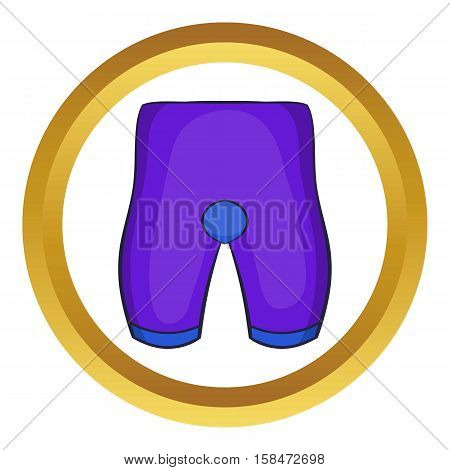 Bike cycling shorts vector icon in golden circle, cartoon style isolated on white background