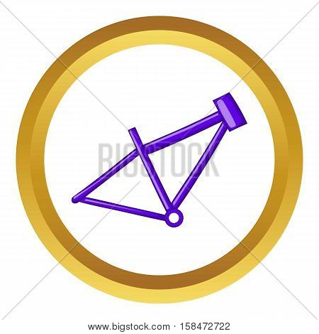 Bicycle frame vector icon in golden circle, cartoon style isolated on white background