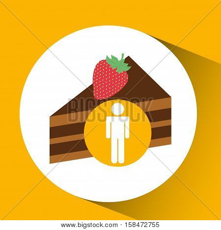 silhouette man chocolate cake dessert nutrition healthy vector illustration eps 10