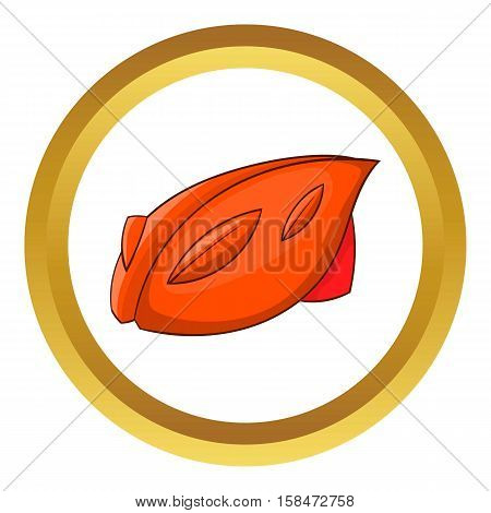 Bike helmet vector icon in golden circle, cartoon style isolated on white background