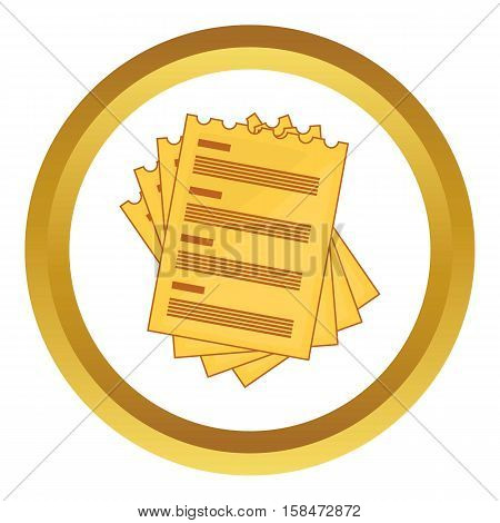 Four list vector icon in golden circle, cartoon style isolated on white background