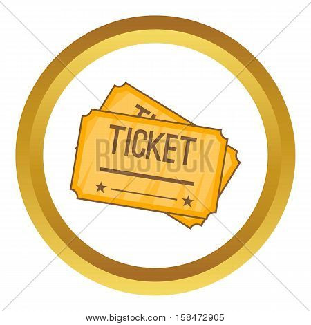 Ticket vector icon in golden circle, cartoon style isolated on white background