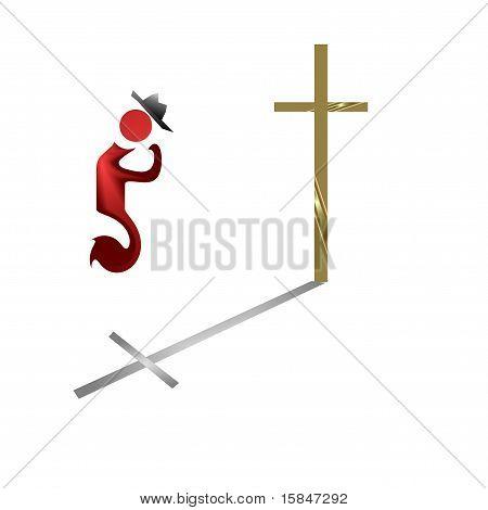 Cowboy icon praying