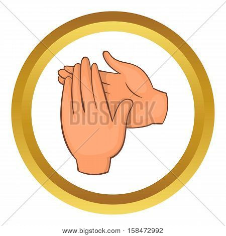 Applause vector icon in golden circle, cartoon style isolated on white background