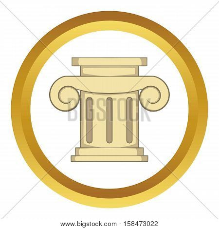 Roman column vector icon in golden circle, cartoon style isolated on white background