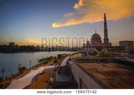 Beautiful sunset At Putra Mosque Putrajaya Malaysia