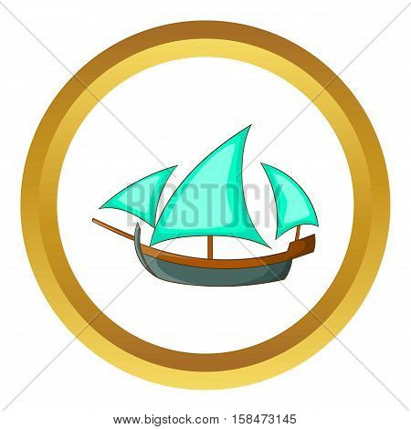 Three sailing wooden ship vector icon in golden circle, cartoon style isolated on white background