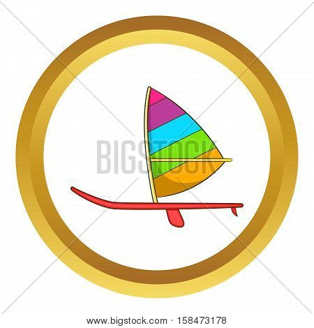 Sport boat with a sail vector icon in golden circle, cartoon style isolated on white background