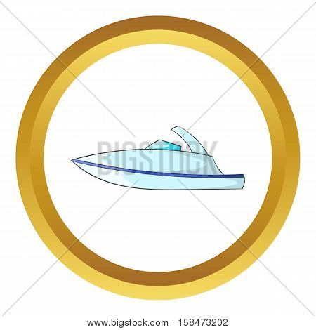 Little powerboat vector icon in golden circle, cartoon style isolated on white background