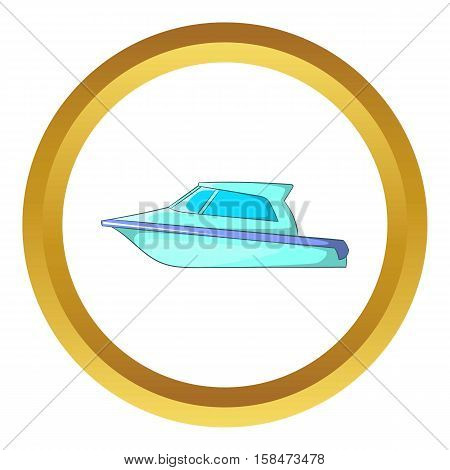 Speed boat vector icon in golden circle, cartoon style isolated on white background