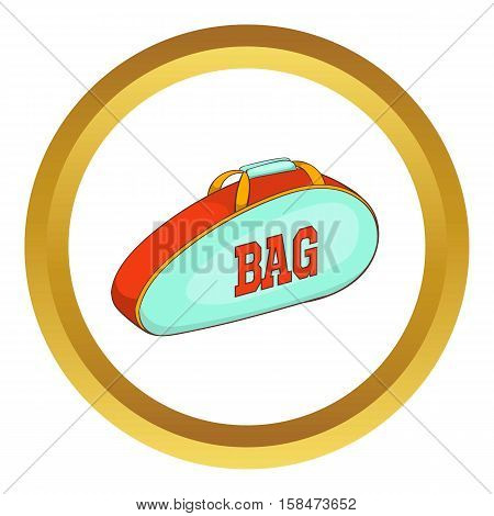 Tennis bag vector icon in golden circle, cartoon style isolated on white background