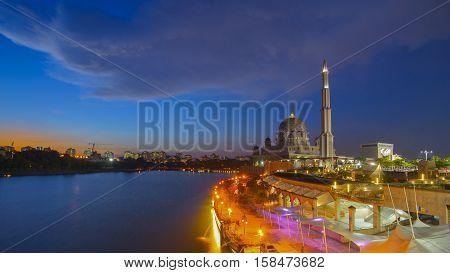 Beautiful sunset At Putra Mosque Putrajaya Malaysia