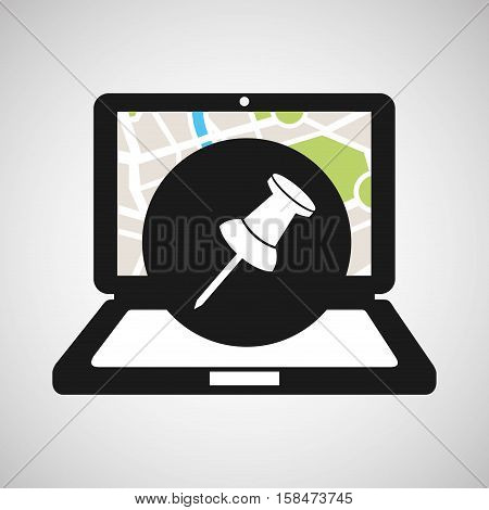 pointer laptop map gps vector illustration eps 10
