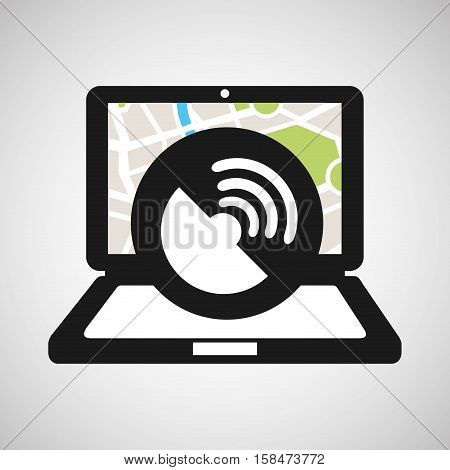 connection laptop map gps vector illustration eps 10