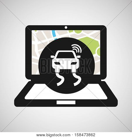 road travel laptop map gps vector illustration eps 10