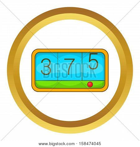 Taximeter vector icon in golden circle, cartoon style isolated on white background