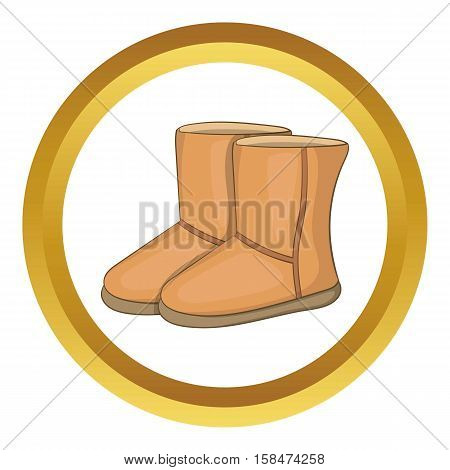Winter ugg boots vector icon in golden circle, cartoon style isolated on white background