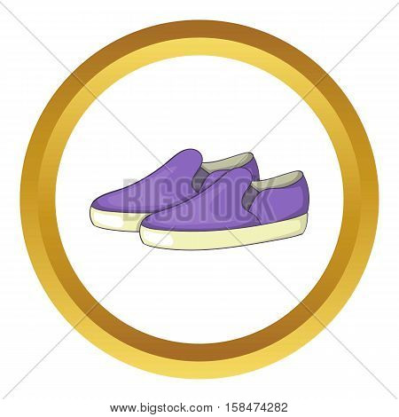 Purple loafers vector icon in golden circle, cartoon style isolated on white background