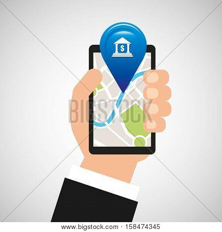 hand holds phone navigation app bank vector illustration eps 10