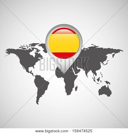 world map with pointer flag spain vector illustration eps 10