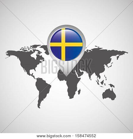 world map with pointer flag sweden vector illustration eps 10