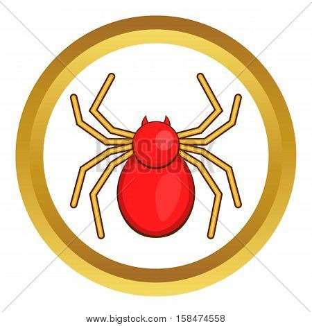 Computer bug vector icon in golden circle, cartoon style isolated on white background