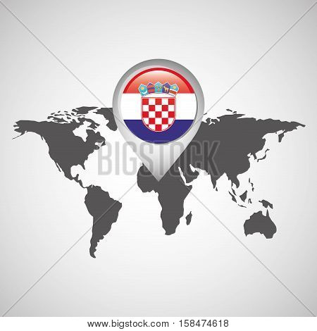 world map with pointer flag vector illustration eps 10