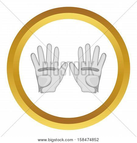 Golf gloves vector icon in golden circle, cartoon style isolated on white background