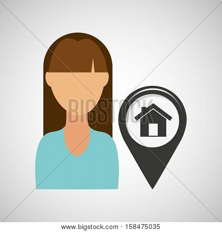 house pointer map girl design icon vector illustration