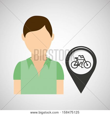 bicycle road pin location man design vector illustration eps 10