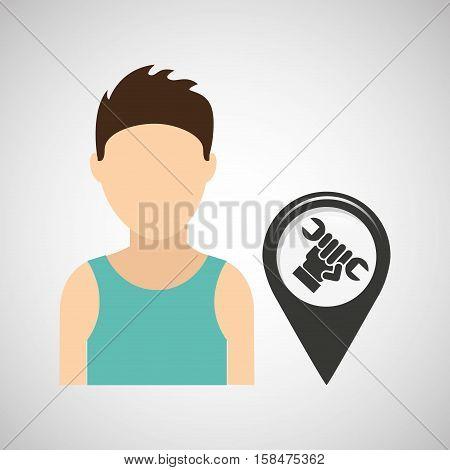 support pin location man design vector illustration eps 10