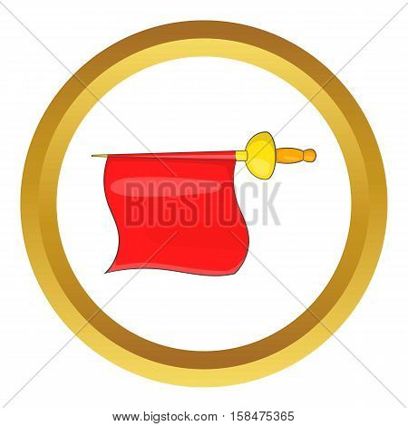 Matador red fabric vector icon in golden circle, cartoon style isolated on white background