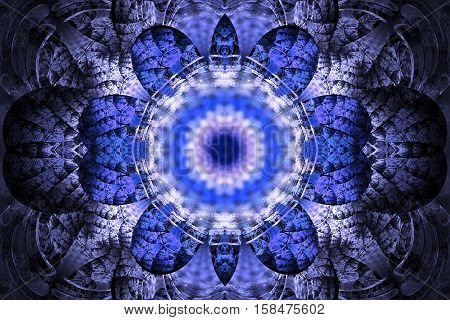 Abstract Mandala On Black Background. Intricate Symmetrical Pattern In Blue And White Colors. Fantas