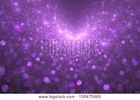 Supernova Explosion. Abstract Colorful Pink And Purple Drops On Dark Background. Fantasy Fractal Tex