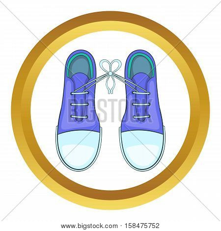 Tied shoes joke vector icon in golden circle, cartoon style isolated on white background