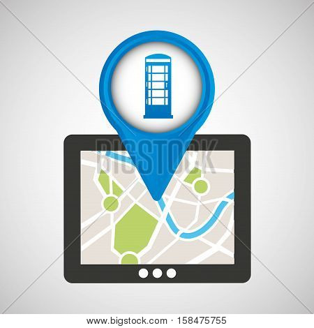 mobile device england gps map vector illustration eps 10
