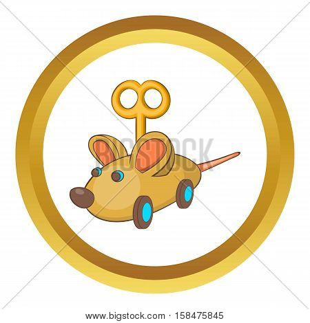 Clockwork mouse vector icon in golden circle, cartoon style isolated on white background
