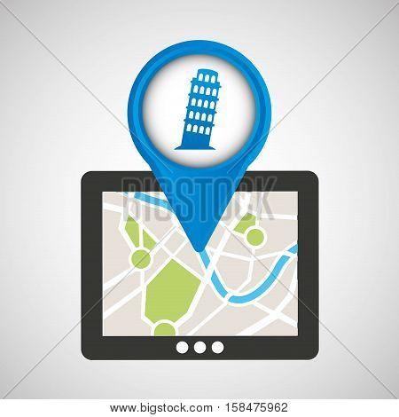 mobile device pisa tower gps map vector illustration eps 10