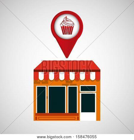 mobile phone dessert shop locater vector illustration eps 10